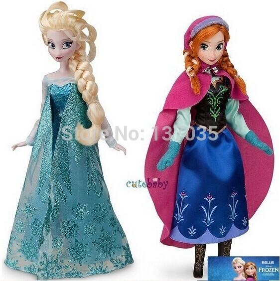 Vendita calda! Fashion doll 2 pezzi congelati princess11.5 pollici bambola congelati e surgelati congelati Elsa Anna regali ragazza bambola comune mobile
