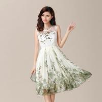 free shipping new 2014 summer spring vintage plus size fashion elegant sleeveless chiffon sexy tops dress organza print dress