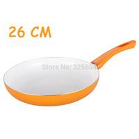 Multi color free shipping 26cm nonstick frying pan aluminum alloy white ceramic coating pan omelette skillet pan no lampblack