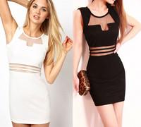 New 2014 Summer Dress Elegant Casual Dress White Nightclub Evening Bandage Winter Party Sexy Bandage Dress Vintage Vestidos
