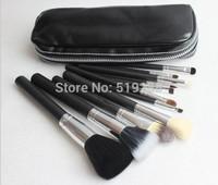 Hot Sale Brand MC Black Professional 12pcs Makeup brush Blush Comestic Brush With Leather Bag Pack 2 Colors Choose Free Ship