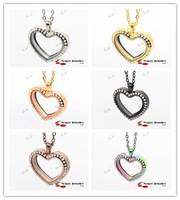 Free Shipping Heart Crystal 316L Stainless Steel Glass Pendant Floating Wholesale Glass Locket