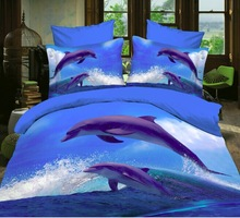 3d oil dolphin comforter cover,4pc bedding sets without filler,dolphin with ocean print bedspreads,dolphin duvet cover(China (Mainland))