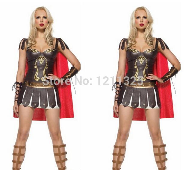 Free shipping Ladies Xena Gladiator Warrior Princess Roman Spartan Fancy Dress Costume halloween costume party costume(China (Mainland))