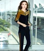2014 New Womens Winter&Autumn Sweatshirts Casual gold velvet Two-piece Jumpsuit Velour tracksuit Sport Suit Women,Tracksuits