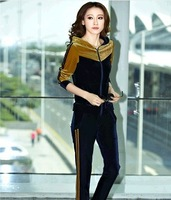 2014 New Womens Winter&Autumn Sweatshirts Casual gold velvet Two-piece Jumpsuit Velour tracksuit Sport Suit Women,Tracksuits