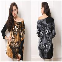 2014 New Sping-Winter Women Dress Casual Plus Size Tiger Cashmere Rhinestones Print Long sleeve Mini Dress novelty vestidos