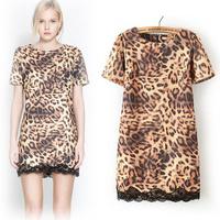 Roupas Femininas New 2014 Women Winter Casual Dress Leopard Fringe Lace Party Evening Dress Fashion Plus Size Spring Vestidos