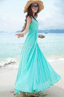Free Shipping 2014 Bargain HOT SALE Women Blue Black Spring Summer New Fashion Long Dress, Plus Size S-XL