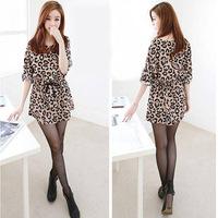 Women Dress New 2014 Fashion  Leopard Printed Chiffon Slim Dresses Plus Size Cool Top Tee Three Quarter Women Clothing Vestidos