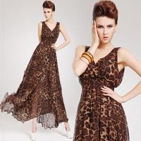 New 2014 Spring Summer Women's Fashion Sexy Deep V-neck Vestidos Bottom Chiffon Double Layer Ruffle Leopard Maxi Long Dress XL
