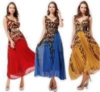 Summer 2014 New Bohemian Dress Sexy Elegant V-neck Leopard Print Chiffon Gradient Color Block Beach Maxi Dress Long Evening