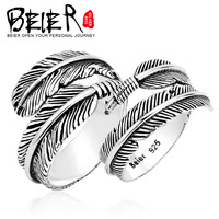 BEIER Silver Retro Angel Wing Ring 925 Sterling Silver  Men And Women Feather Couple Ring Wholesale Price YM002