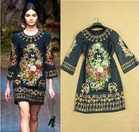 2014 Summer Women's New Arrive European American Brand 3/4 Sleeves Above Knee Print Vintage Key Dresses Size + XXL