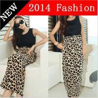 2014 New fashion women Summer Bohemian Beach Long Dress High Waist O-neck Sleeveless Leopard Print Patchwork Maxi Tank Dresses