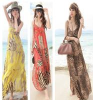 2014 New Fashion summer Bohemian Red Yellow Coffee Sexy Leopard V neck Long maxi dress Halter Women beach Dress Roupas Femininas