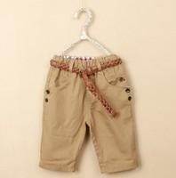sp10 New 2014 kids pants with belt brand orange / khaki / blue / yellow boys shorts 5pcs/ lot free shipping