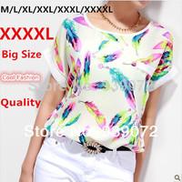 Florial Women Blouses Shirt Chiffon XXXXL Plus Size Feminina Summer Top Shirt Women Clothing Blusa Camisa Short Tops Tee Shirt