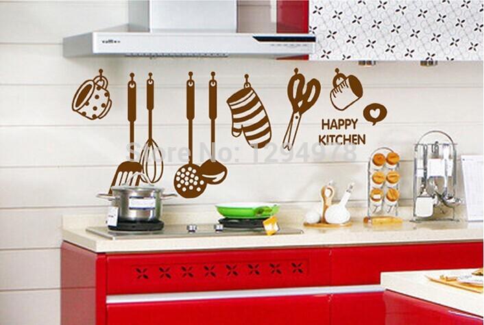 Free Shipping DIY Removable Wall Stickers restaurant /kitchen /utensils/ refrigerator Sticker Kitchen Wall Stickers AY6017(China (Mainland))