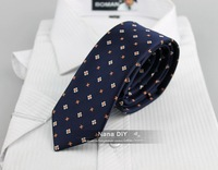 New 2014 Man Fashion Accessories Dark Blue Small Flora Jacquard Woven5cm Slim Tie Casual Necktie for Men,Freeshipping