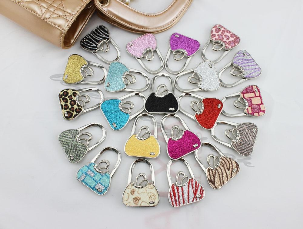 Metal Foldable PU Bag Purse Hook Bag Hanger/Purse Hook/Handbag Holder Shell Bag Folding TablePurple Leaf(China (Mainland))