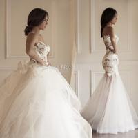 Fashion Detachable Wedding Dresses Mermaid Trumpet Sheer Sweetheart Applique Lace Backless Organza Bridal Gown yk1A104