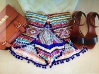 Sweet Floral Print Pom Pom Hem High Waist Beach Shorts For Women Elastic Waist Hot Shorts Summer