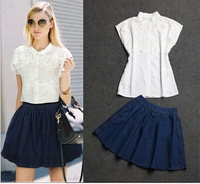 hot! 2014  fashion new European style women's suit embroidering Net Yarn Linen blouses denim skirts three-piece
