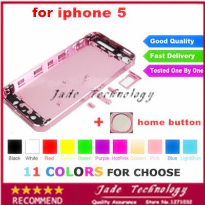 Di alta qualità 11 colore pieno completato metallo posteriore coperchio della custodia sostituzione telaio a metà per iphone5 montaggio + tasto home