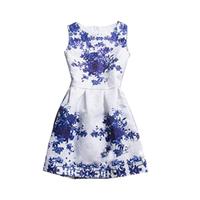 2014 Spring Summer Vintage Elegant Brand Women's Fashion White Sleeveless Porcelain Print Flare Floral Party Dress Y60*E2739#S7