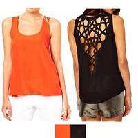 2014 Summer Women's Sexy Back Hollow Out Casual Blouse Shirt Sleeveless O-neck Candy Color Blusas Femininas M-XXXL Y10 E2747