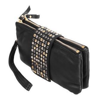 2014 New Arrive Hot Selling PU Leather Fashion Designer Rivet Bag Women Wallet Bag Fashion Women's Clutches 7073(China (Mainland))