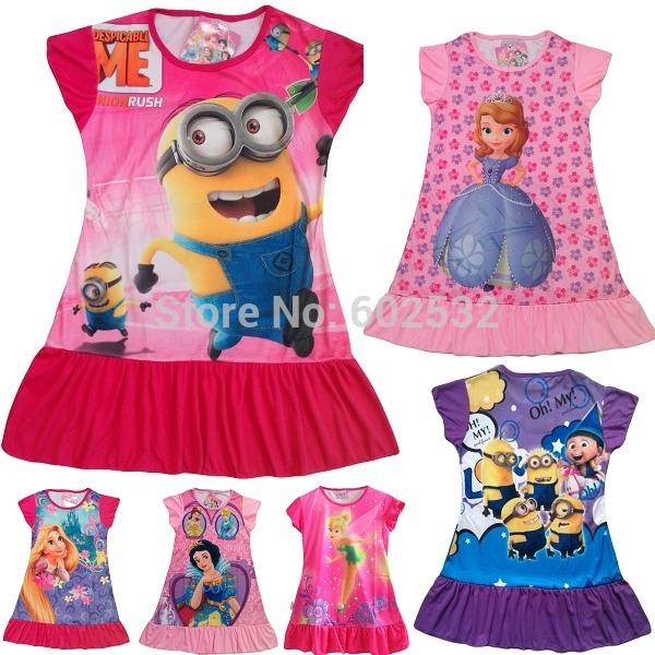 Nouveau 2014 été, odieux me princesse, détail, fille robe imprimée enfants marque occasionnelsprix kidsdress polyester, vêtements pour enfants partie