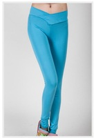 Hot Selling Sexy Candy Color Women's Leggings for Sports Fluorescence High Elastic pants Pencil Trousers Y43 E2749
