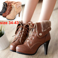 2014 New arrival Winter Sexy Elegant Fashion Women Spike Heels boots Round Toe Black Yellow Apricot Equestrian boots