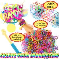 2014 HOT sale DIY Colorful Loom Bands set .Popular  Loom Kit  , 600 Multi-color Band +Clips+Loom+hooker