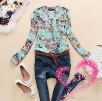 New 2014spring  v-neck chiffon ladies blouse women's long sleeve flower printed casual shirt clothing blusas femininas