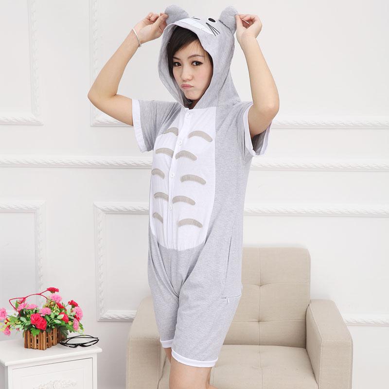 Summer cotton animal cartoon anime figure totoro one piece sleepwear personalized homewear nonopnd toilet version(China (Mainland))