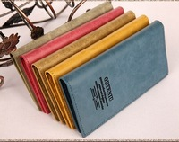 2014 designer brand leather woman wallet hasp lady purse with card holder money blue yellow grey dropping shipping