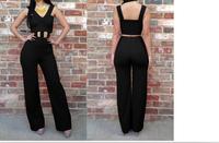 New 2014 summer Fashion Women's v neck black Jumpsuit Sexy Brand overalls Club strap  romper Bandage Bodycon