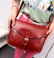 fashion women handbag shoulder bag solid color bags vintage style simple design bags pu leather
