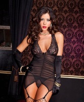 New Sexy Lace Lingerie Set Nightwear Underwear G-string+ Wrist gloves   Black  M273