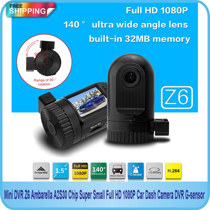 Free Shipping!! Mini DVR Ambarella A2S30 Chip Super Small Full HD 1080P Car Dash Camera DVR G-sensor(China (Mainland))