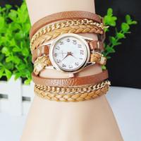 2014 New Best-Selling Fashion Women Dress Watch Woven Leather Bracelet Watch Quartz Watch 1Pcs / Lot