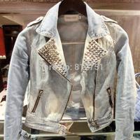SWT004 2014 Spring Blazer Slim Denim Suit Large Size Diamond Suit Wild Long-Sleeved Denim Jeans Jacket Women Free Shipping
