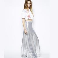 2014 NEW ARRIVAL HOT SALE!!Women New Brand Silver Sequins Bling Bling Maxi Skirt Trumpet Mermaid Skirt