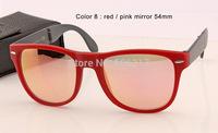 100% UV protection new original box case Unisex sunglasses wayfarer folding 4105 54mm large size red with pink mirror glasses