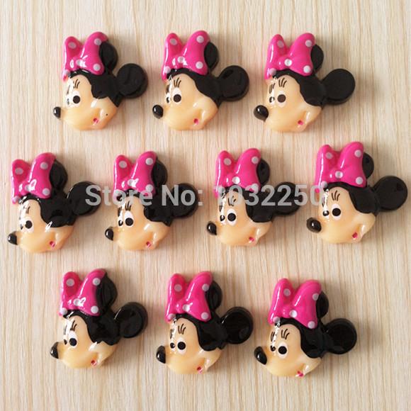 Lote 500 pcs bonito Minnie Mouse resina Flatbacks plano voltar Scrapbooking arco de cabelo centro de telefone artesanato Deco fazer BXT154F DIY(China (Mainland))