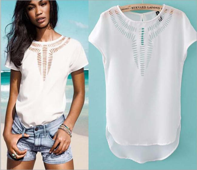 AliExpress.com Product - Hot Sell! New Brand Carved Hollow Chiffon Tops Fashion Bat Shirt Women's Blouse Solid Color Garment Size S / M / L Free Shipping