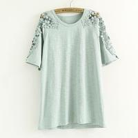 2014 Fashion Brand Women Summer T Shirt Girl Casual Shirt Bamboo Cotton Tops Ladies Lace Blouses Free Shipping